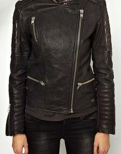 Image 3 ofMaison Scotch Leather Biker Jacket with Metallic Panels
