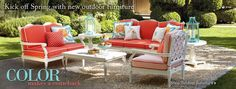 Love the colors!!!!  Frontgate: Outdoor Furniture - Bath Towels & Bedding - Bar Stools - Luxury Home Decor