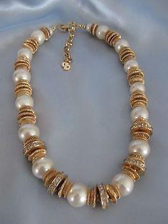 Designer CHRISTIAN DIOR  Pearl & Rhinestone Statement Necklace - Signed - http://designerjewelrygalleria.com/christian-dior/designer-christian-dior-pearl-rhinestone-statement-necklace-signed/