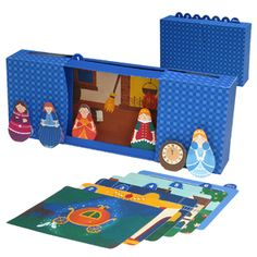Free to print: Fairy Tale Cinderella Puppet theater, scenery, and puppets!  Lovely printable.  Great for a princess party!