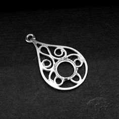 1 pcs 925 Sterling Silver Pendant Setting for 6mm by AoryNL