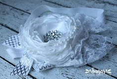 Available on our Facebook page! Facebook.com/sugarcreeboutique #handmade #wedding #white #lace #pearls #bride #satin #flower #couture #headband #siblings #shopsmall #shophandmade