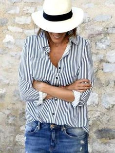 SheIn offers Blue Lapel Vertical Striped Blouse & more to fit your fashionable needs. Vertical Striped Shirt, Vertical Stripes, Romwe, Look Girl, Collar Blouse, Denim Outfit, Blue Blouse, Mode Style, Blue Tops