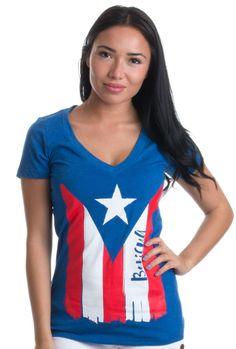 BORICUA   Cute PR Puerto Rican Pride, Nuyorican Flag Ladies' Deep V-neck T-shirt #AnnArborTshirtCo #Vneck