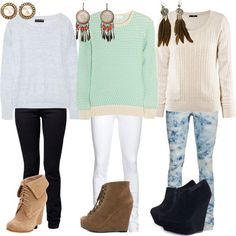 jeggings with oversized sweaters ♥ ♥