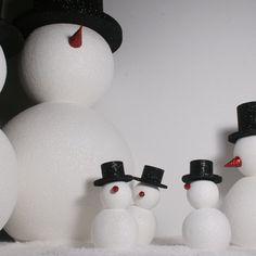 group of polystyrene snowmen love it!