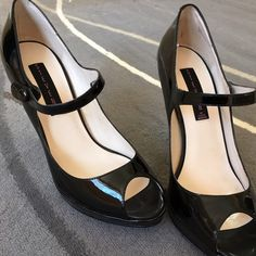 Steven patent leather peep toe Mary Janes sz 8.5 Gently worn Brytni patent leather peep toe Mary Janes by Steven (Steve Madden). Some minor scuffing where the shoes rubbed on each other. Should be able to buff right out. Steven by Steve Madden Shoes Heels