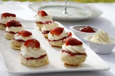 MINI TREATS :: Food ideas - British High Tea mini scones with jam and cream - perfect for a baby shower or high tea