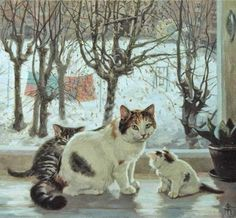 Winter cat painting. Tatyana Fedorova