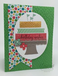 Make your Own Layers of Birthday cake with Stampin' Up! Build a Birthday stamp set for your next birthday card! Elaine's Creations