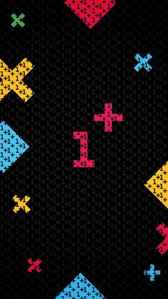Black and Neon Math and Numbers Wallpaper