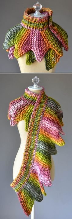 "Free Knitting pattern for 18 Petals Scarf - Wrap this versatile accessory around your neck for a unique layered shoulder cozy cowl, unwind to wear as a scarf, or drape over the shoulders for a shawl. The ""petals"" of this decorative edged accessory are shaped through short-rows and decreases. Knits up fast in a super bulky yarn. Perfect with multi-colored yarn. Designed by Amy Gunderson for Universal Yarn."