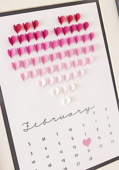 Minimalist Valentine's Day Decor - Calendar, simple Valentine's Day decor, easy Valentine's Day DIY