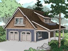 Garage apartment plans are closely related to carriage house designs. Typically, car storage with living quarters above defines an apartment garage plan. View our garage plans. 2 Car Garage Plans, Garage Plans With Loft, Garage Apartment Plans, Garage Apartments, Garage Ideas, Detached Garage Plans, 2 Story Garage, Apartment Cost, Barn Apartment