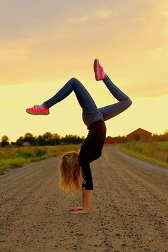 Old back road, sunset, handstand. I will remake this shot!