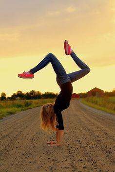 Old back road, sunrise, handstand. I will remake this shot!