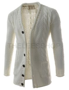 Mens Slim Fit Front Pocket Twist Knitted 6 Button Long Sleeve Cardigan