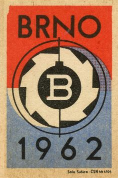 """B"" 'Brno - Vintage Czechoslovakian Matchbox 'Football' Label, 'Solo Susice' series. Vintage Packaging, Vintage Labels, Vintage Posters, Vintage Graphic Design, Graphic Design Illustration, Logos, Logo Branding, Vintage Fireworks, Book Labels"