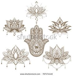 lotus flower and hamsa set . Vector.  boho style,  yoga, india, sketch for tattoo