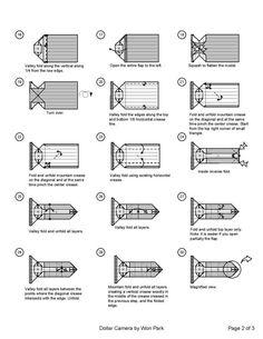Camera Diagram (2 of 3) Money Origami Dollar Bill Art