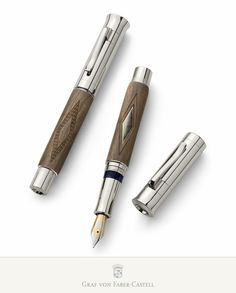 The 18-carat bicolour gold nib is available in the line widths F, M, and B, each one 'run in' by hand. The platinum-plated end cap, decorated with a case-hardened metal disc, protects the knob for the plunger mechanism, on which each fountain pen is individually numbered. Limited to: 1.500 fountain pens. #fountainpen #craftmanship