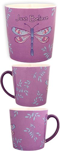 Just Believe Dragonfly Mug- a portion of every purchase goes to Diabetes Research