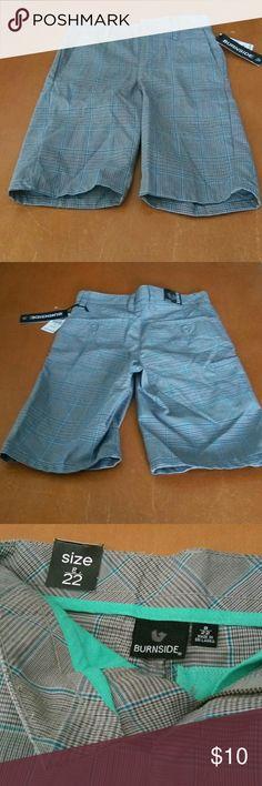 "Burnside boys grey plaid and checked shorts New with tags Burnside grey plaid and checked boy's shorts.  Size 8, waist: 22"". 1front slit pocket Two back pockets and 1 side pocket. Burnside  Bottoms Shorts"