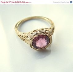 Victorian Filigree Ring with Pink Tourmaline