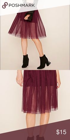 NWT Polka Dot Mesh Tulle Skirt Fall must have color! A knee-length skirt with a polka dot mesh overlay, a built-in slip, and an elasticized waist. Flattering in size L on burgundy. Forever 21 Skirts Midi