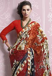 Ultimate collection of embroidered sarees with fabulous style. This red, orange and black brasso faux georgette saree is nicely designed with floral print, lace and patch work. Saree gives you a singular and dissimilar look. Matching red blouse is available. Slight color variations are possible due to differing screen and photograph resolution.