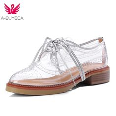 e7e713806b 2018 New Lace Up Hollow Out Famous Brand Oxfords Shoes Transparent Round  Toe Ladies Brogue Women