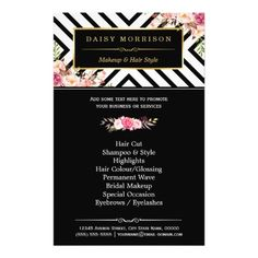 "Beauty Salon Vintage Floral Black White Stripes 5.5"" X 8.5"" Flyer"