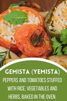Gemista or yemista is a well-known dish in traditional Greek cuisine. This is a very popular dish, traditionally prepared in the summer, since it is made using a variety of vegetables. In Greek cuisine, it belongs to a group of dishes known as Ladera (Lada meaning olive oil in Greek). Unsurprisingly, it is made with a lot of olive oil.Gemista is peppers and tomatoes stuffed with rice, vegetables and herbs and baked in the oven. e has its own special recipe. Yemista Recipe, Greek Dishes, World Recipes, Fresh Mint, Special Recipes, Tray Bakes, Bon Appetit, Olive Oil, Tomatoes