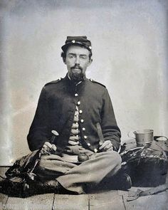 Civil War Union Soldier with All His Eating Utensils