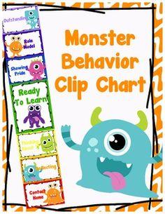 Monsters Behavior Clip Chart - Behavior Management, $