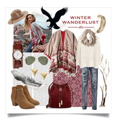 """""""Winter Wanderlust with American Eagle: Contest Entry"""" by sissbraga ❤ liked on Polyvore featuring Oris, American Eagle Outfitters, MANGO, Nixon, Ray-Ban, Vince Camuto and aeostyle"""