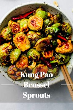 You've never tasted Brussels sprouts this good before! Kung Pao Brussels Sprouts are crispy on the outside, tender on the inside, and covered in a sweet and spicy kung pao sauce. // recipe // roasted