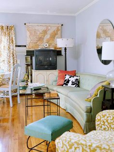 This home is outfitted almost entirely in vintage items found at flea markets or given by family members: http://www.bhg.com/decorating/decorating-style/flea-market/vintage-cottage-style/?socsrc=bhgpin021615relaxedatmosphere&page=4