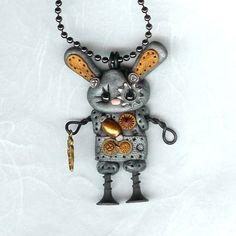 Steampunk Robot Easter Bunny Rabbit Necklace Polymer by Freeheart1
