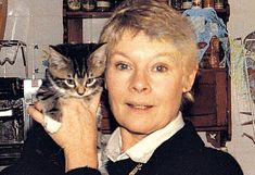 Judi Dench and cat