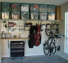 * I like the long shelf and the hanger's underneath to hang the bikes and clubs from
