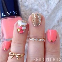 20 Coral Nail Art Designs To Draw Inspiration From… Coral Nail Art, Coral Nails, Pink Nail, Gold Nail, Orange Nails, Gold Manicure, Fancy Nails, Love Nails, Diy Nails