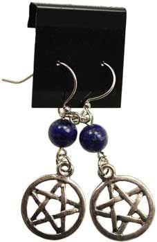 Lapis Pentagram earrings