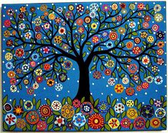 This would look fabulous as a mural! Blooming Best Tree acrylic and oil original folk art abstract painting by Karla Gerard Tree Of Life Painting, Tree Of Life Art, Tree Art, Karla Gerard, Dot Art Painting, Folk Art Paintings, Naive Art, Whimsical Art, Art Plastique