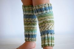 Warm knitted legwarmers blue green cream neutral by OliveAndVince, £16.00