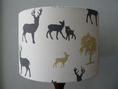 Handmade 30cm Deer Park Drum Lampshade  Grey by RubydoDesigns, £32.95