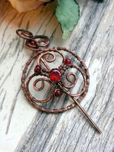 Shawl pin - Penannular  Wire Wrapped Copper Shawl Pin , scarf pin, sweater pin, cardigan clasp,
