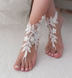 24 Color Lace barefoot sandals, Ivory barefoot sandals, Wedding anklet, Beach we. Barefoot Sandals Wedding, Bridal Sandals, Bridal Shoes, Bridal Lace, Lace Wedding, Barefoot Beach, Bridal Jewelry, Ivory Sandals, Sexy Sandals
