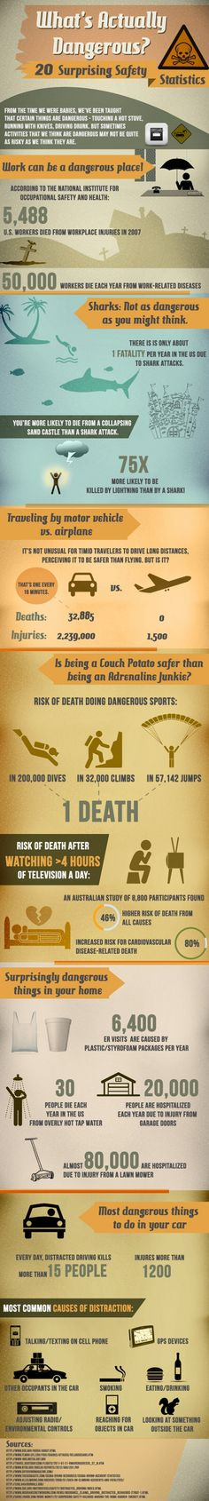On this infographic, we are going to examine what the research really says on some safety statistics concerning on occupational health and safety. The truth behind from the activities we tend to believe that are dangerous which in fact may not be quite as risky as we predict they are. # We Educate Travellers for More Productive, Efficient and Safer Travel! http://intelligenttravel.com.au/