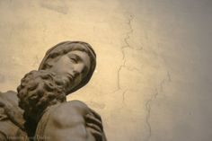 "Photograph of Michelangelo's Sculpture ""Madonna with Child"", Marble Sculpture Photography, Renaissance Art, Classical Wall Art."